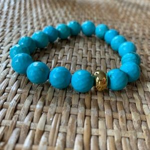 Nest Turquoise Stretch Bracelet with Gold Accent